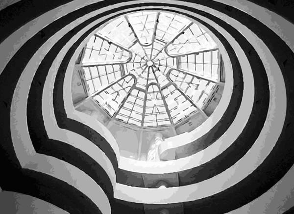 Guggenheim Museaum Poster featuring the photograph Guggenheim Museum Bw16 by Scott Kelley