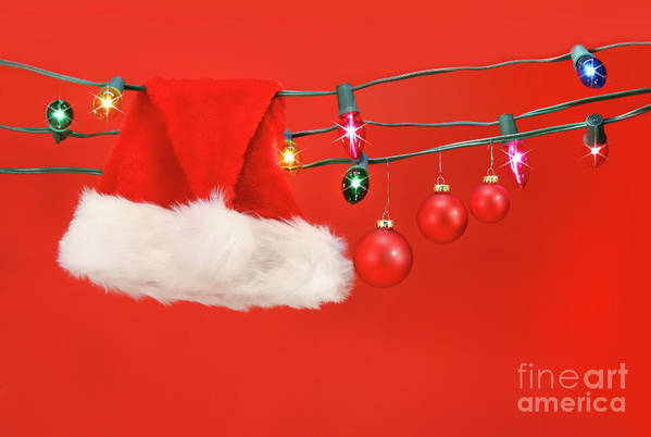 Background Poster featuring the photograph Hanging Lights With Santa Hat by Sandra Cunningham