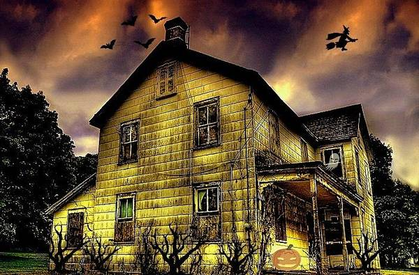 House Poster featuring the photograph Haunted Halloween House by Robin Pross