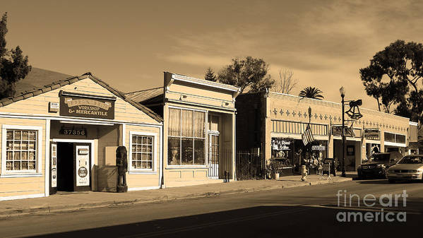 Black And White Poster featuring the photograph Historic Niles District In California Near Fremont . Main Street . Niles Boulevard . 7d10676 . Sepia by Wingsdomain Art and Photography