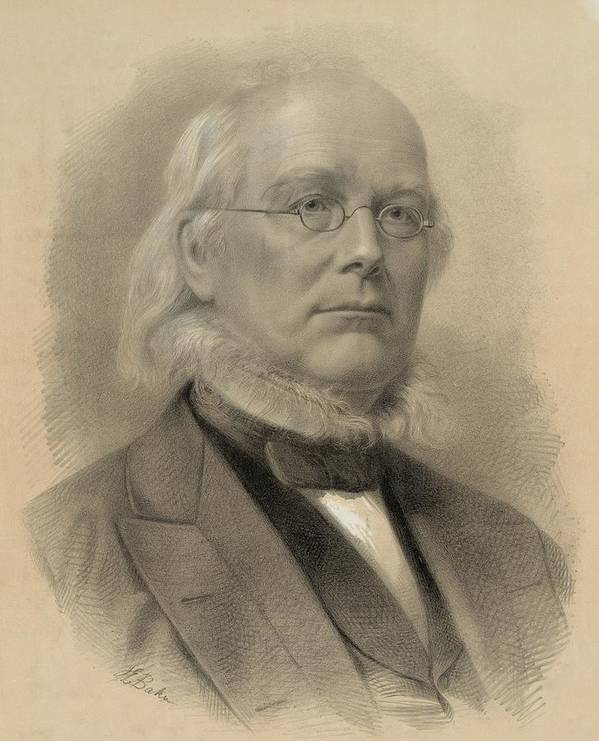 Historical Poster featuring the photograph Horace Greeley 1811-1872, Ca. 1872 by Everett