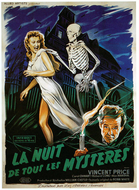 1950s Poster Art Poster featuring the photograph House On Haunted Hill, Carol Ohmart by Everett