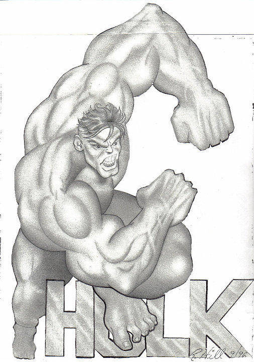 Portraits Poster featuring the drawing Hulk by Rick Hill