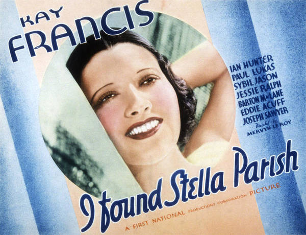 1930s Movies Poster featuring the photograph I Found Stella Parish, Kay Francis, 1935 by Everett