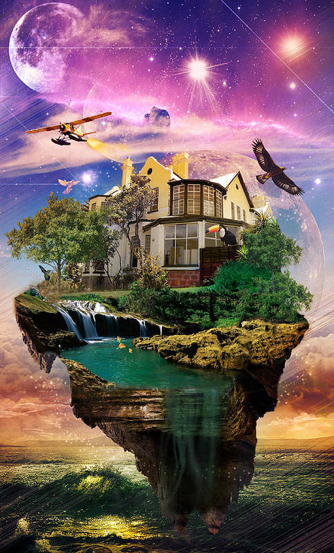 Imagination Home Poster featuring the digital art Imagination Home by Pierre Louis