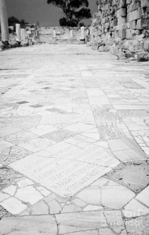 Famagusta Poster featuring the photograph Inscription In The Floor Tile Of The Gymnasium Stoa Ancient Site Salamis Famagusta by Joe Fox