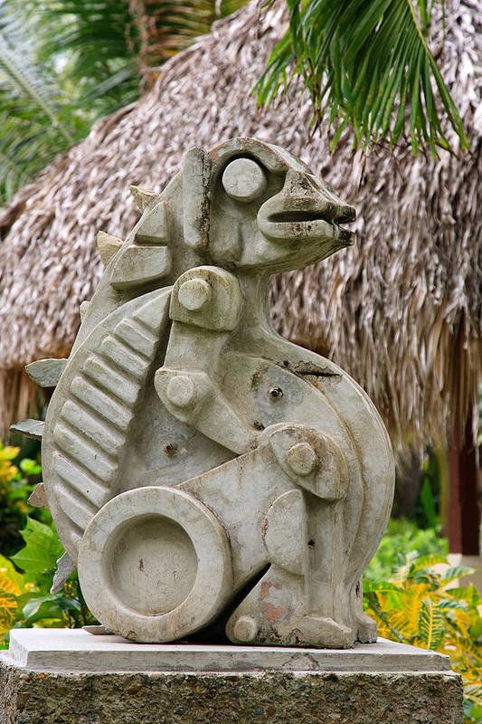 Caribbean Poster featuring the photograph Intriguing Taino Sculpture by Karen Lee Ensley