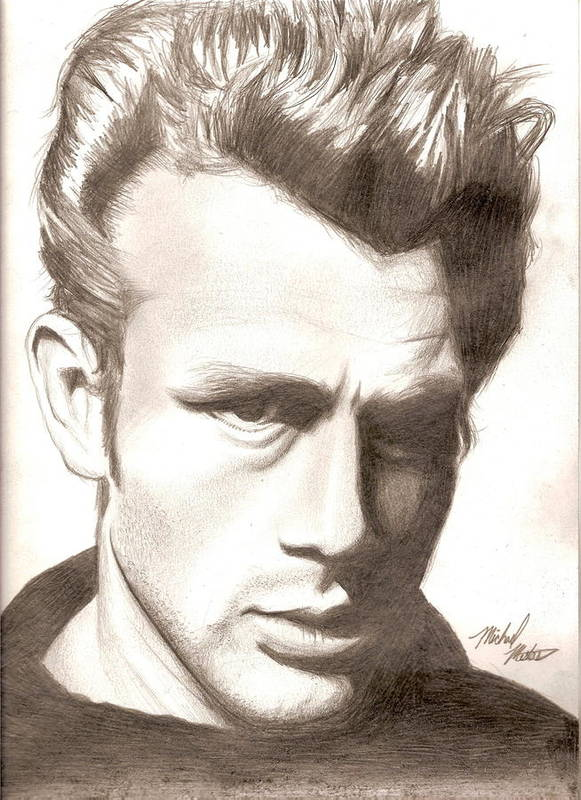 James Poster featuring the drawing James Dean by Michael Mestas