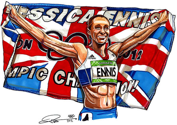 Jessica Ennis Poster featuring the drawing Jessica Ennis by Dave Olsen