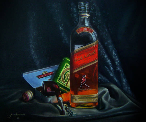 Wine Poster featuring the painting Johnnie Walker by Epifanio jr Mendoza