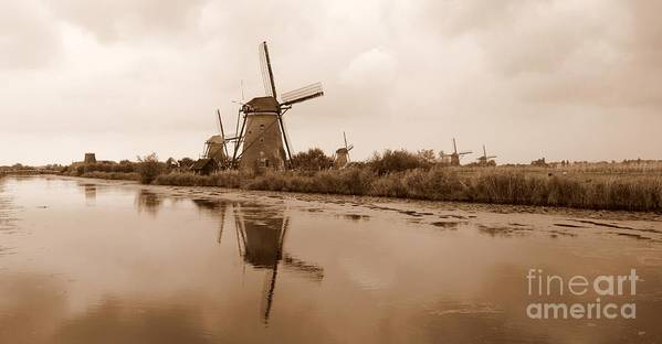Kinderdijk Poster featuring the photograph Kinderdijk In Sepia by Carol Groenen