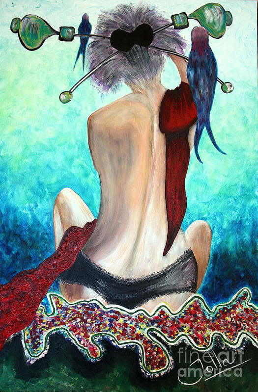 Passion Poster featuring the painting Lady In Red by Jolanta Anna Karolska