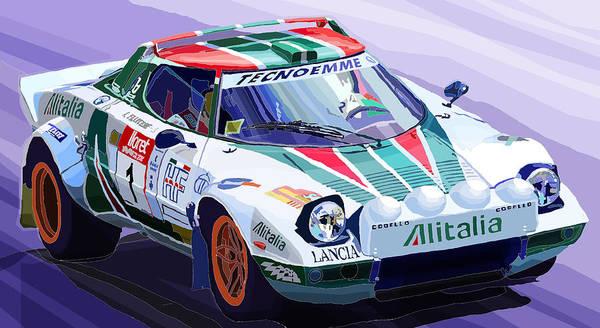 Automotive Poster featuring the digital art Lancia Stratos Alitalia Rally Catalonya Costa Brava 2008 by Yuriy Shevchuk
