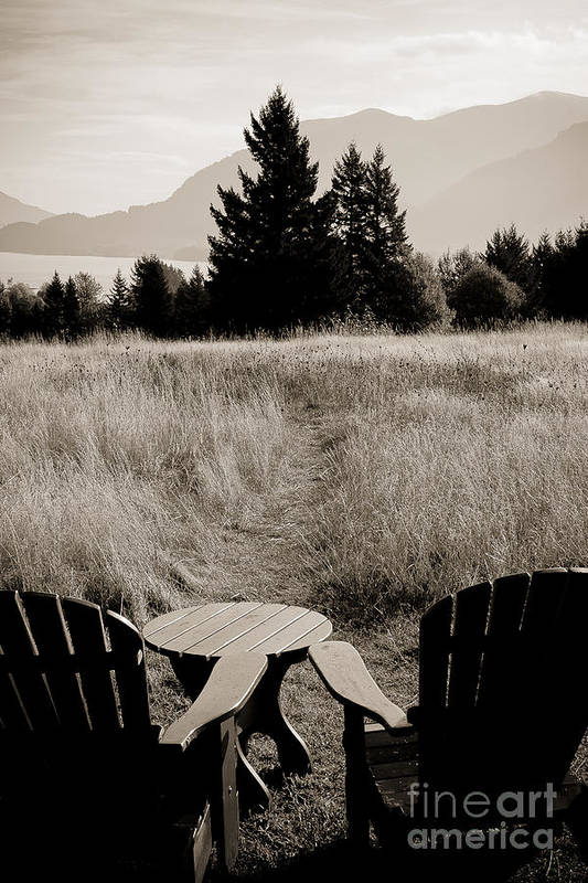 Landscape Poster featuring the photograph Lawn Chair View Of Field by Darcy Michaelchuk
