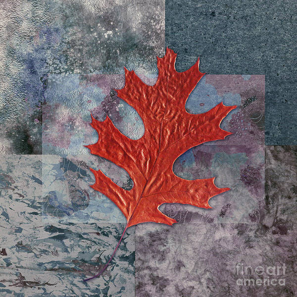 Leaf Poster featuring the digital art Leaf Life 01 - T01b by Variance Collections