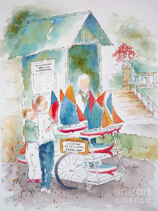 Paris Poster featuring the painting Les Voiliers Jardin Du Luxembourg by Pat Katz