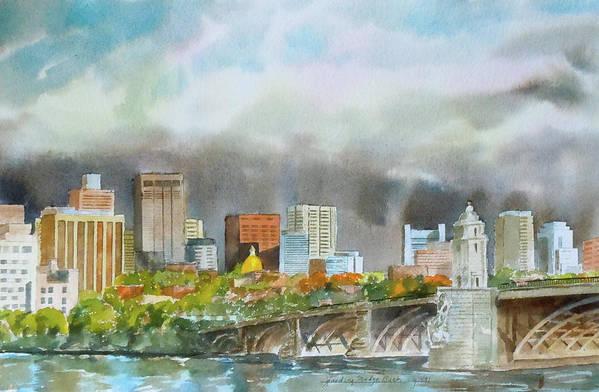 Boston Poster featuring the painting Longfellow Bridge Boston by Harding Bush