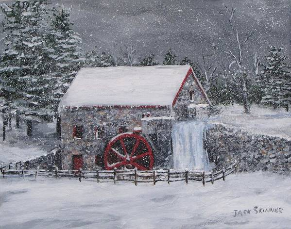 Sudbury Ma Poster featuring the painting Longfellow's Grist Mill In Winter by Jack Skinner