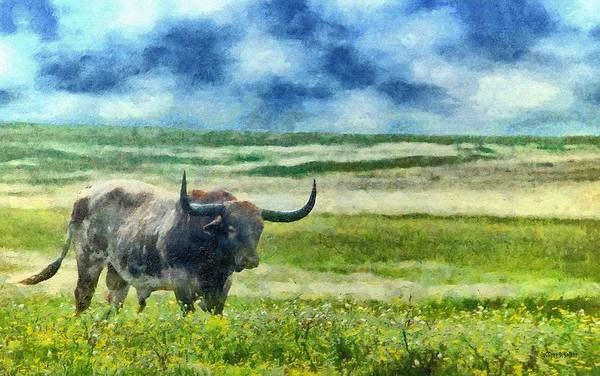 Texas Poster featuring the painting Longhorn Prarie by Jeff Kolker