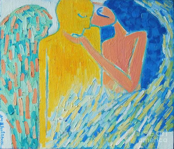 Oil Poster featuring the painting Loving An Angel by Ana Maria Edulescu