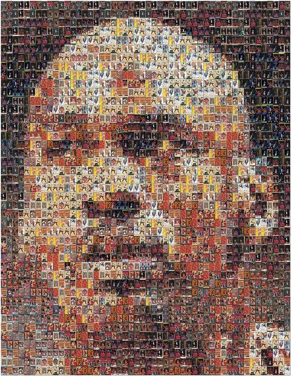 Michael Jordan Poster featuring the photograph Michael Jordan Card Mosaic 3 by Paul Van Scott