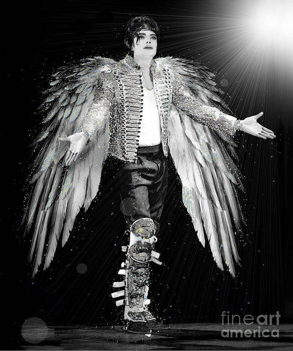 Michael Jackson Poster featuring the digital art Michael King Of Angels by Karine Percheron-Daniels