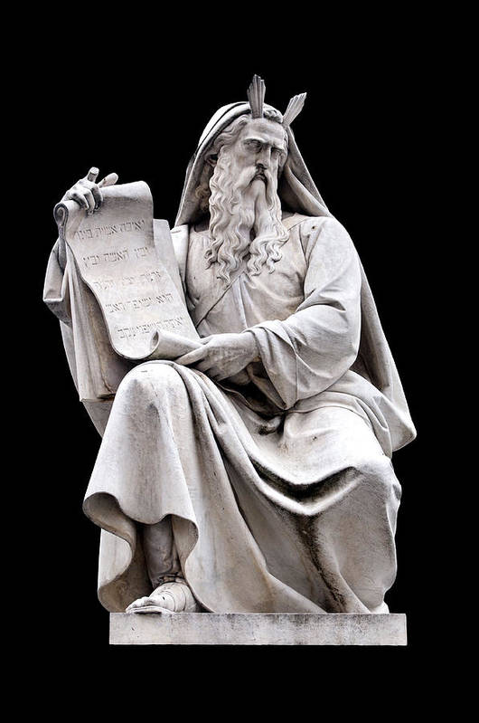 Black Background Poster featuring the photograph Moses by Fabrizio Troiani