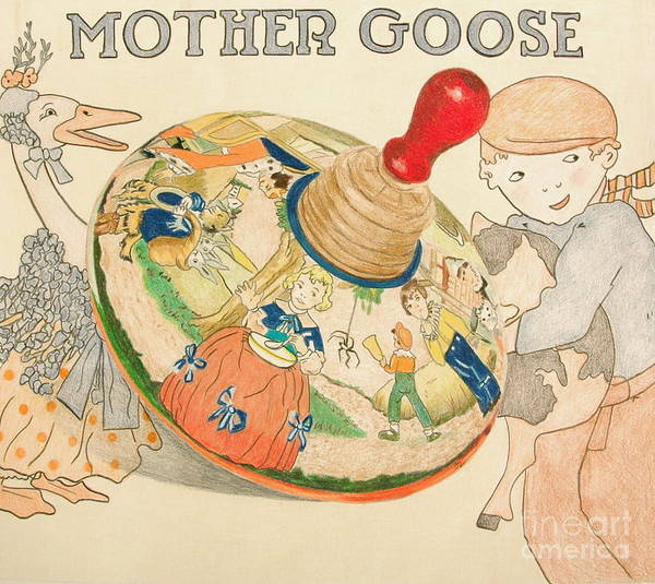 Toy Poster featuring the drawing Mother Goose Spinning Top by Glenda Zuckerman