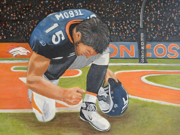 Tim Tebow Poster featuring the painting My Man Tebow by Lynette Brown