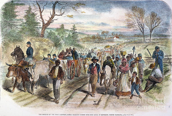 1863 Poster featuring the photograph Nc: Freed Slaves, 1863 by Granger