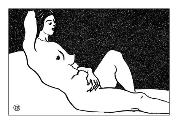 Nude Poster featuring the drawing Nude Sketch 61 by Leonid Petrushin