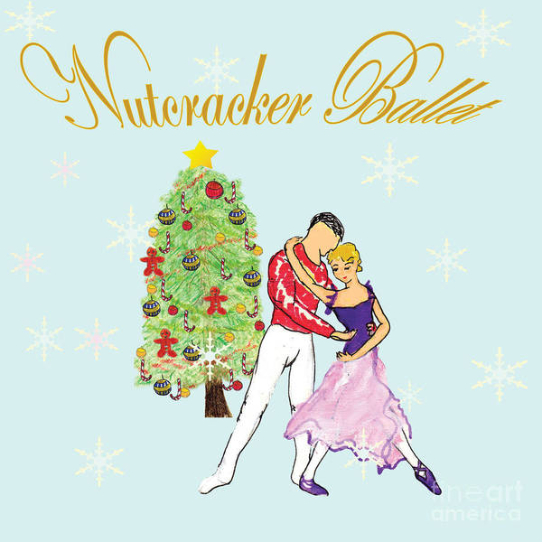 Nutcracker Ballet Poster featuring the mixed media Nutcracker Ballet Romance by Marie Loh