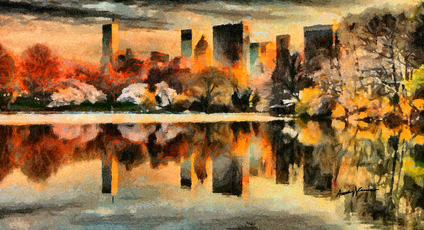 Cityscape Poster featuring the painting Nyc At Sunset by Anthony Caruso
