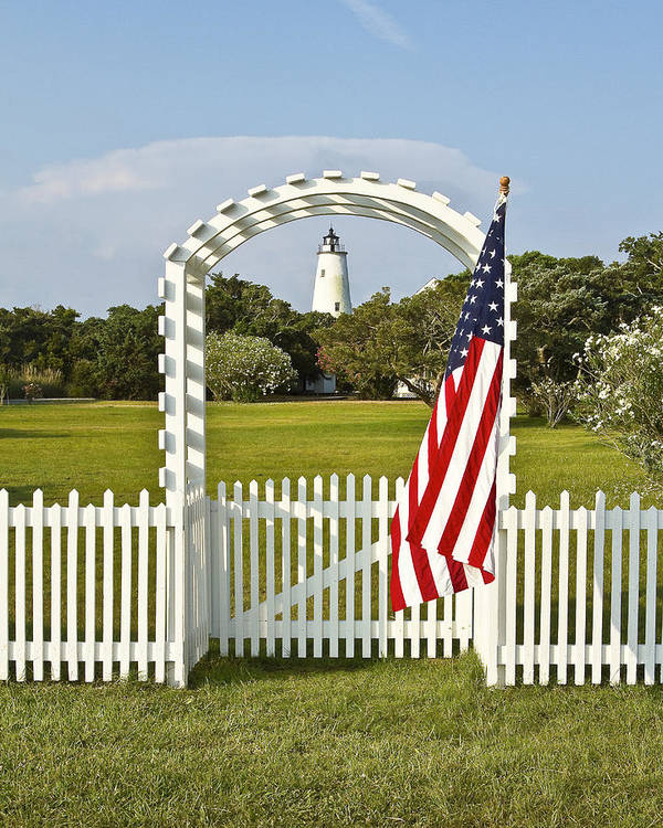 Ocracoke Poster featuring the photograph Ocracoke Lighthouse July 4th by Bill Swindaman