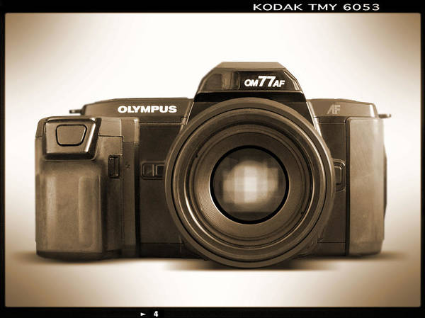 Vintage Olympus Poster featuring the photograph Olympus Om77af by Mike McGlothlen