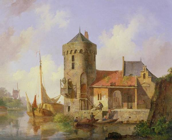 The Rhine Poster featuring the painting On The Rhine by Cornelius Springer