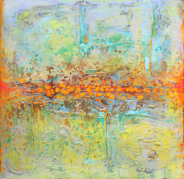 Abstract Poster featuring the tapestry - textile Orange Intenference by Lolita Bronzini