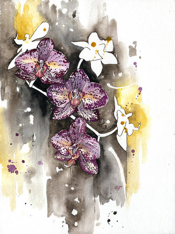 Orchid Poster featuring the painting Orchid 13 Elena Yakubovich by Elena Yakubovich