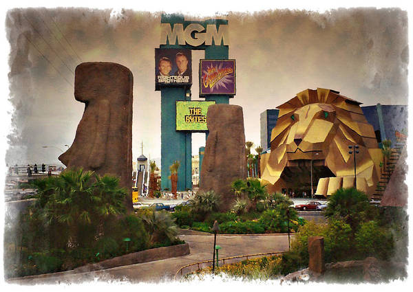 Las Poster featuring the photograph Original Mgm Grand Lion 1994 - Impressions by Ricky Barnard