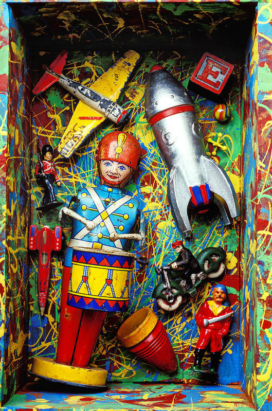 Toy Poster featuring the photograph Painted Box Full Of Old Toys by Garry Gay