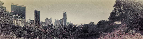 Central Park Poster featuring the photograph Panorama Of Central Park - Old Fashioned Sepia by Alex AG
