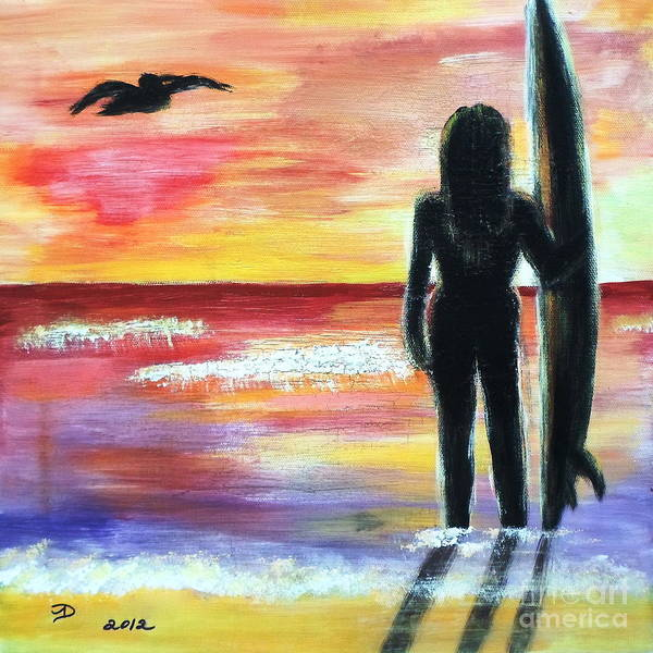Pelican And The Surfer Girl Poster featuring the painting Pelican And The Surfer Girl by Diane Wigstone