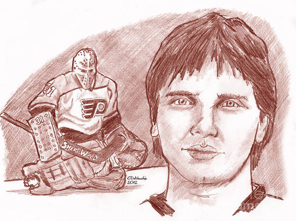 Flyers Poster featuring the drawing Pelle Lindbergh by Chris DelVecchio