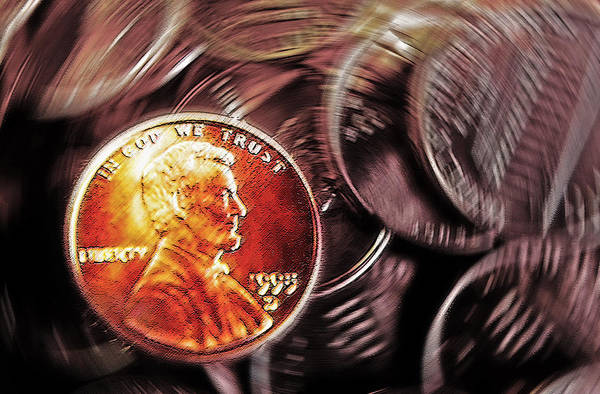 Pennies Poster featuring the photograph Pennies Abstract 3 by Steve Ohlsen