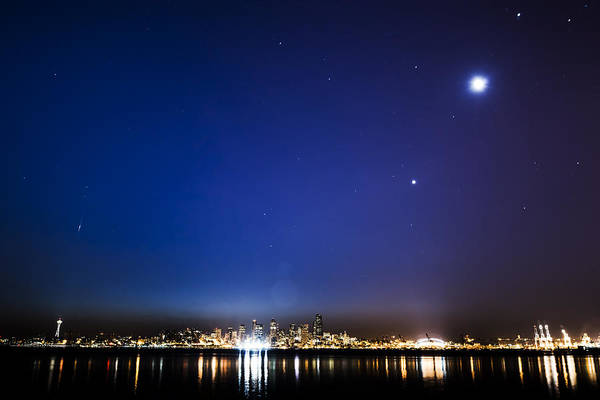 Meteor Poster featuring the photograph Perseid Meteor In Seattle by Yoshiki Nakamura