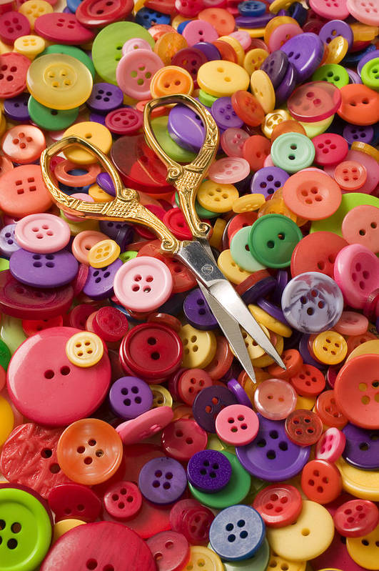 Button Poster featuring the photograph Pile Of Buttons With Scissors by Garry Gay