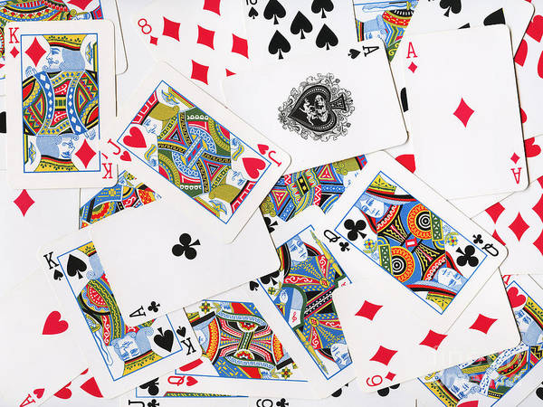 Card Poster featuring the photograph Pile Of Playing Cards by Wingsdomain Art and Photography