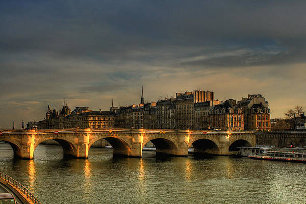 Horizontal Poster featuring the photograph Pont Neuf At Sunset, Paris, France by Avi Morag photography