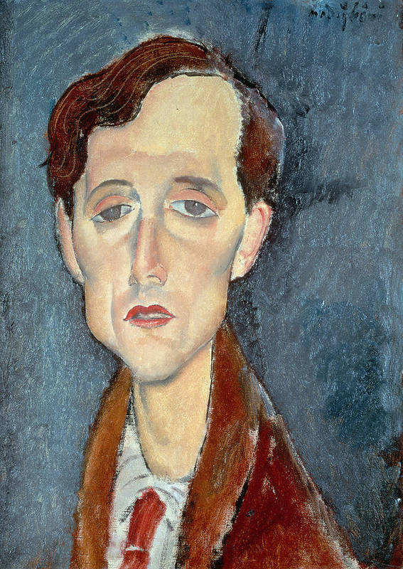 Frans; Male; Sad; Melancholy; Depressed Poster featuring the painting Portrait Of Franz Hellens by Modigliani