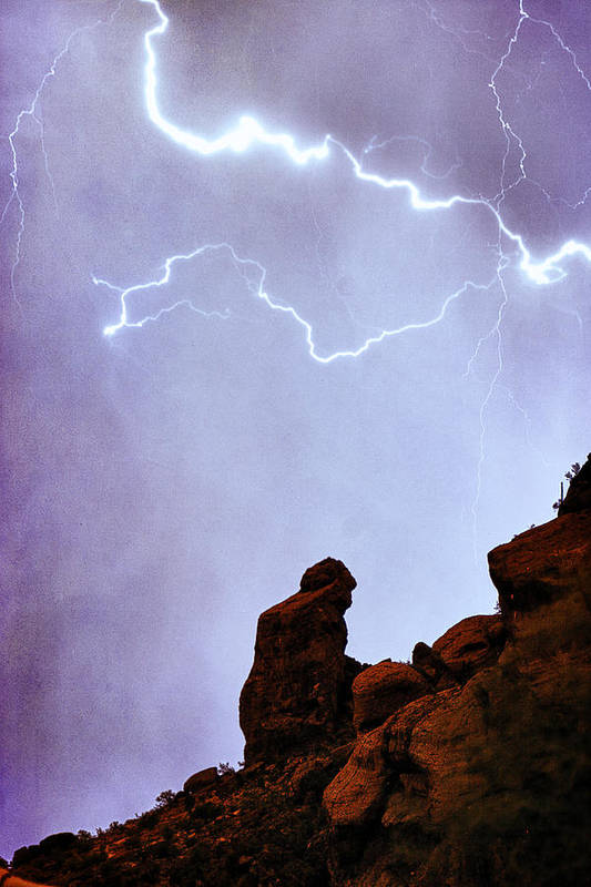 'praying Monk' Poster featuring the photograph Praying Monk Camelback Mountain Paradise Valley Lightning Storm by James BO Insogna